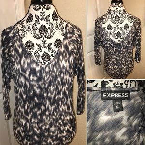 Express extra small black-and-white leopard shirt